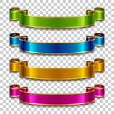 Silk ribbons set. Set of silk ribbons in different colors on transparent background. Vector illustration Royalty Free Stock Photo