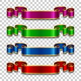 Silk ribbons set. Set of silk ribbons in different colors on transparent background. Vector illustration Stock Image