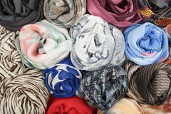The set of silk scarves associated rose Royalty Free Stock Photos
