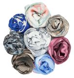 The set of silk scarves associated rose Royalty Free Stock Photo