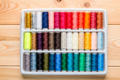 A set of silk thread in a box. Top view Royalty Free Stock Photo