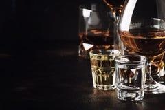 Set silni alkoholiczni napoje w szkłach i strzału szkle w asso fotografia stock
