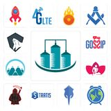 Set of silo, earth hour, stingray, stratis, grim reaper, massage therapist, mont, gossip, king kong icons Stock Image