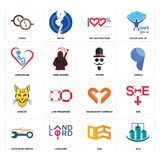 Set of silo, oes, auto body repair, handicraft company, bobcat, mister, orphanage, 100 satisfaction, cofee icons. Set Of 16 simple  icons such as silo, oes Royalty Free Stock Image
