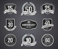 Set silver badge and label of anniversary. Set silver logo, badge and label of anniversary on white background stock illustration