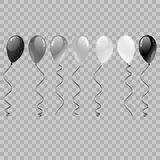Set of silver, black, white with confetti helium balloons isolated in the air. Balloons Flying for Party and Celebrations on trans. Parent Background. Realistic Stock Photography