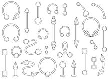 Set of silver body piercings jewelry. Contour. Set of silver body piercings jewelry. Curve, ball, dumbbell, spike, circle shapes. Contour lines illustration  on Stock Photos