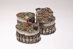 Set of silver boxes Stock Images