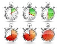 Set of silver bright stopwatch clock intervals, Royalty Free Stock Images