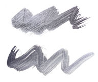 Set of silver brush strokes of acrylic paint as sample of art product Stock Photo