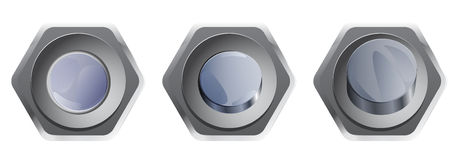 Set of silver buttons for webdesign. Hexagonal chrome buttons for infographic and website Royalty Free Stock Photos