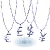 Set of silver chains with currencies pendants. Stock Images