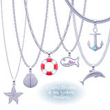 Set of silver chains with nautical pendants. Royalty Free Stock Photography