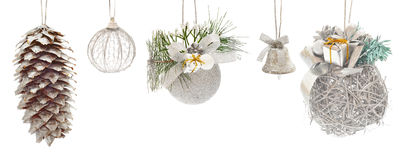 Set of silver Christmas toys Stock Images