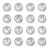 Set of silver coins Stock Photos