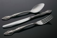 Set of silver cutlery Royalty Free Stock Images