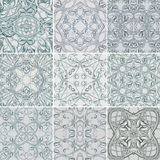 Set of Silver Floral seamless patterns for fabric Stock Photo
