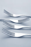 Set of silver forks Royalty Free Stock Photos