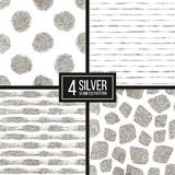 Set of silver glitter seamless pattern  stripes, polka dots, mosaic spots Stock Images