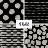 Set of silver glitter seamless pattern  stripes, polka dots, mosaic spots Stock Photo