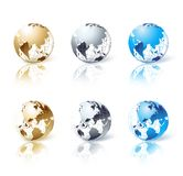 Set of silver, gold and blue isolated globe Royalty Free Stock Images