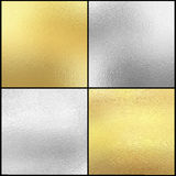 Set of Silver and gold foil texture background Stock Photos