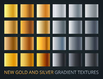 Set of silver and gold gradients on dark background, 24 different colour style, metallic effect. Stock Image