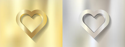 Set silver gold heart frame on metal background Stock Photo