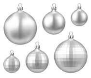 Silver isolated Christmas balls set. Royalty Free Stock Photos