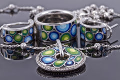 Set of silver jewelry Stock Photography