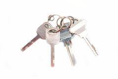Set of silver keys on keyring Royalty Free Stock Images
