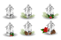 Set of silver lantern with christmas decoration Stock Photo