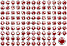 Set of silver metallic border red web icons. Set of silver metallic border red web icons isolated on white background Stock Photography