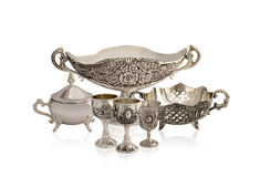 Set of silver old ware Royalty Free Stock Photography