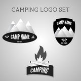 Set of silver outdoor adventure badges and Stock Photography