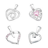 Set of silver pendant in shape of heart Stock Photo