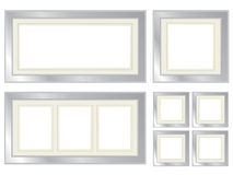 Set of silver picture frames Royalty Free Stock Images