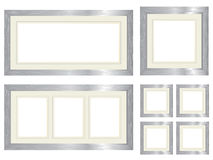 Set of silver picture frames Stock Photography