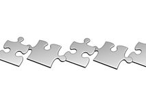 Set of silver puzzles flying to air Royalty Free Stock Photos