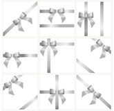 A set of silver ribbons and bows for gift decoration. beautiful Stock Images