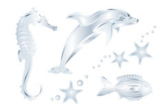 Set Of Silver Sea Animals, Isolated. Vector. Silver Dolphin, Fish, Dragon, Perls and Starfish Stock Images