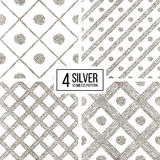 Set of silver seamless pattern  grunge diagonal stripes and circle Royalty Free Stock Photography