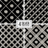 Set of silver seamless pattern  grunge diagonal stripes and circle Stock Photography
