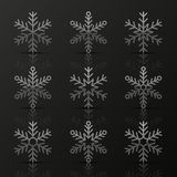 Set of silver snowflakes Royalty Free Stock Photos