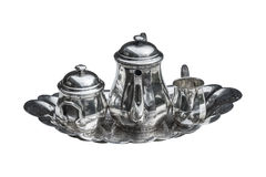 set silver tea vintage 免版税库存照片