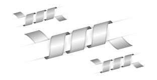 Set of silver twisted ribbons. Set of silver and silver twisted ribbons Stock Photography