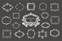 Set of silver vintage floral frames and monograms. Vector decorative borders Stock Photography