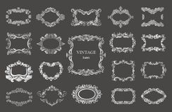 Set of silver vintage floral frames and monograms. Vector decorative borders Royalty Free Stock Photography