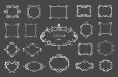 Set of silver vintage floral frames and monograms. Vector decorative borders Royalty Free Stock Image