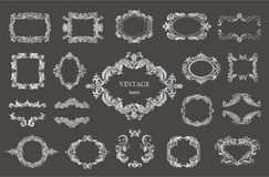 Set of silver vintage floral frames and monograms. Vector decorative borders Stock Photos